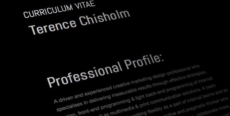 Terence Chisholm / Curriculum Vitae / Resume